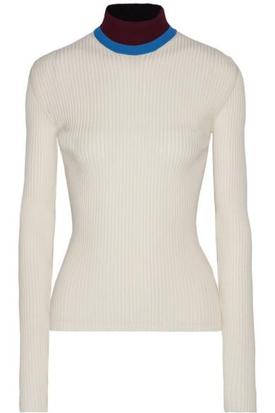 Appliquéd Ribbed Wool-blend Turtleneck Sweater
