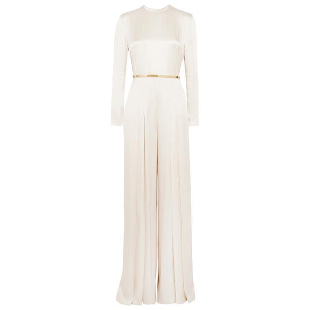 wedding dress 2017: Stella McCartney Belted Pleated Satin Jumpsuit