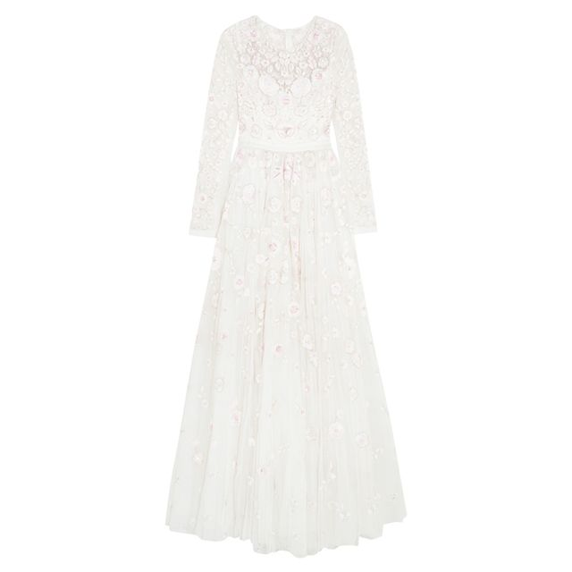 wedding dress 2017: Needle & Thread Rosette Embellished Embroidered Tulle Gown
