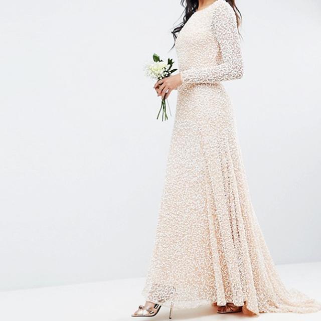 wedding dress 2017: ASOS BRIDAL All Over Embellished Long Sleeve Maxi Dress