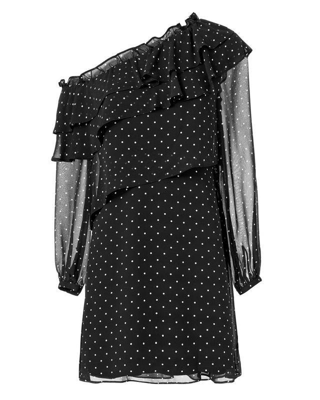 Exclusive for Intermix Juliette One Shoulder Ruffle Front Mini Dress Print L