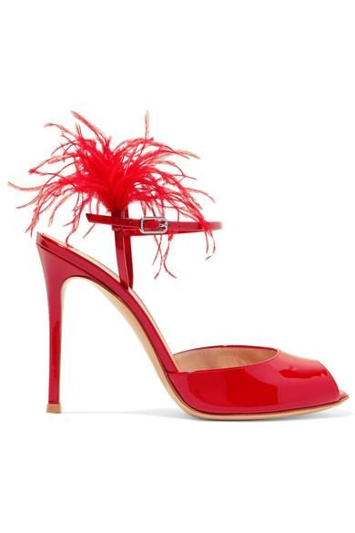 100 Feather-trimmed Patent-leather Sandals