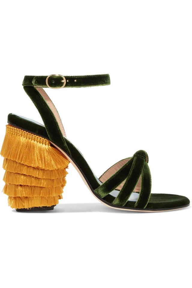 Jingling Fringed Velvet Sandals
