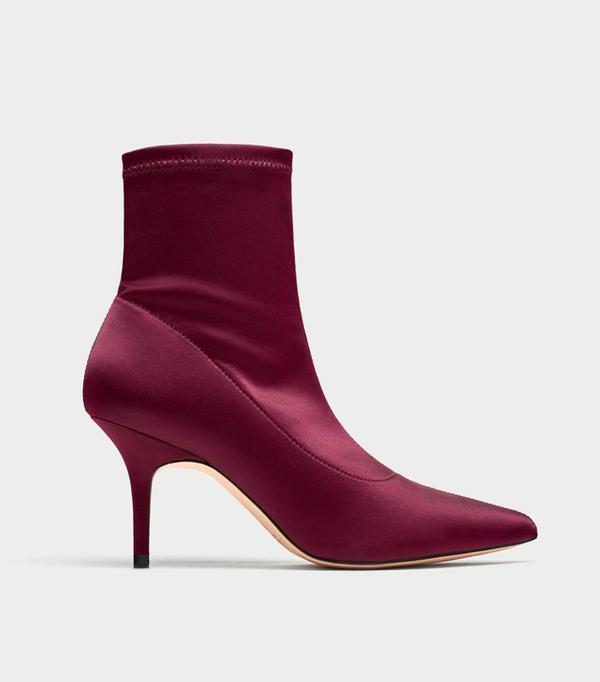 Zara Satin Ankle Boots