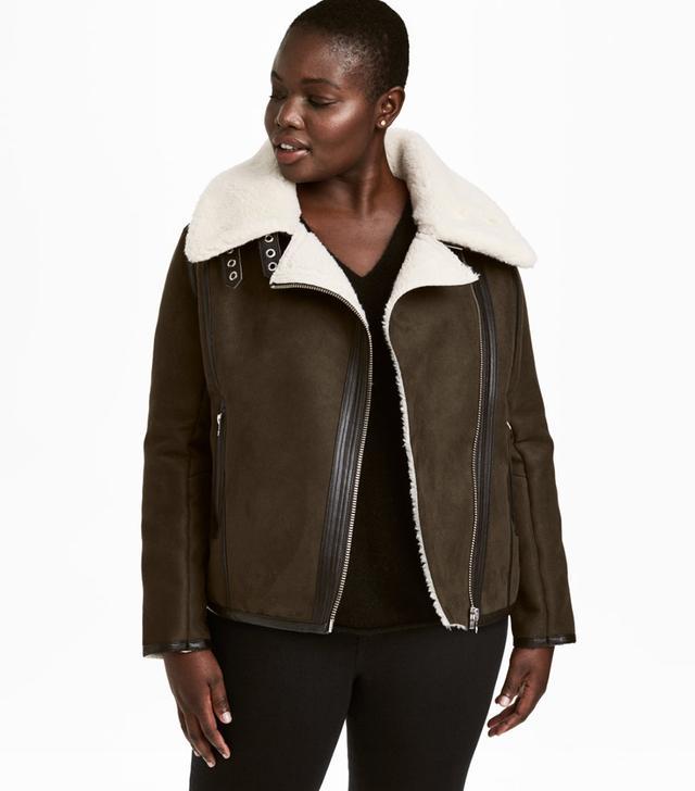Pile-lined Biker Jacket
