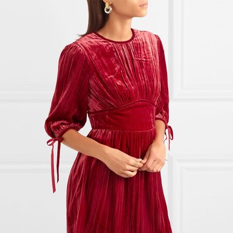 Bow-Embellished Velvet Dress