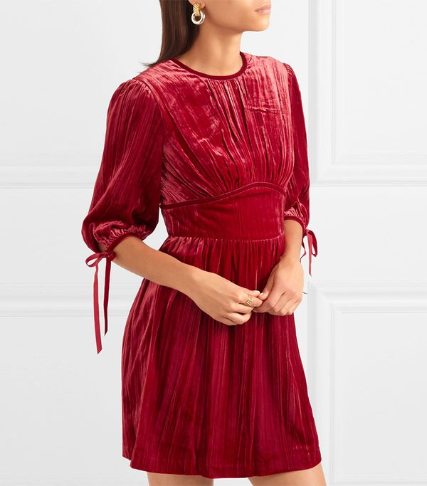 AlexaChung Bow-Embellished Velvet Dress