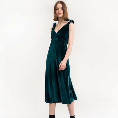 Emerald Velvet Shoulder Tie Dress