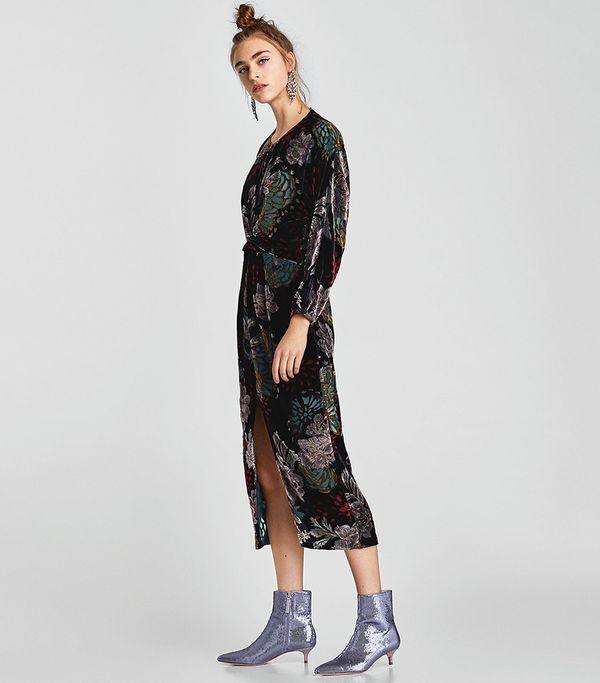 Zara Draped Velvet Dress