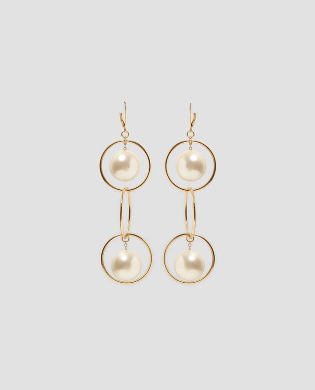 Zara Hoop and Pearl Bead Earrings