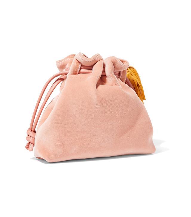 Henri Small Leather-trimmed Velvet Bucket Bag