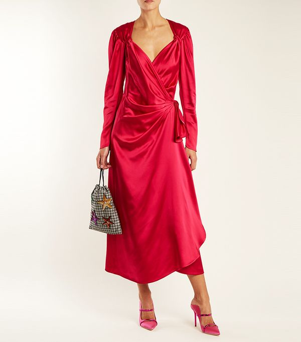 Pat sweetheart-neck asymmetric satin dress