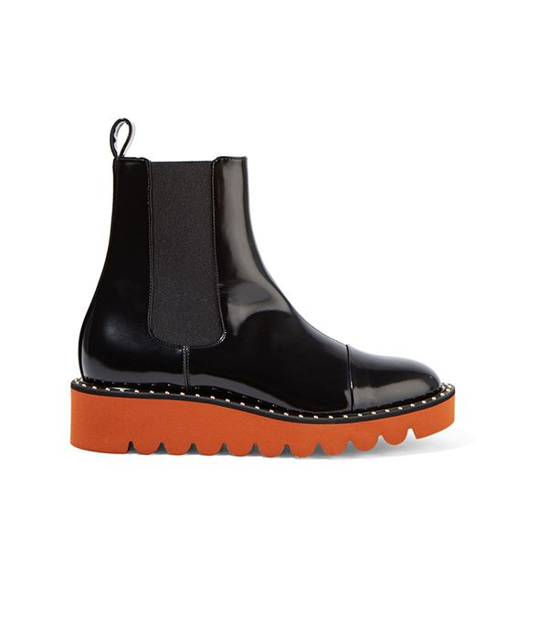 Faux Patent-leather Chelsea Boots