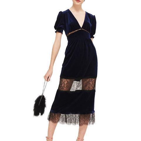 Velvet & Lace Puff Sleeve Midi Dress