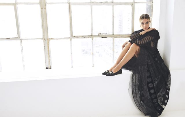 On Olivia Palermo: Pretty Ballerinas Ella Black Diamonds and Pearls Flats ($289) Available in sizes 35 to 42.