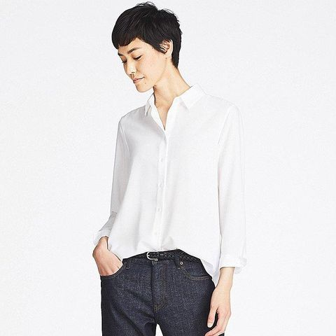 Rayon Long-Sleeve Blouse