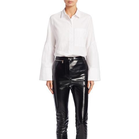 Bell-Sleeve Cotton Button-Down Shirt