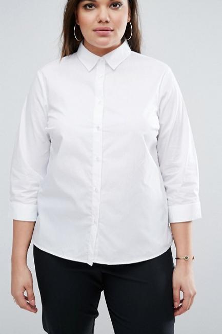 ASOS CURVE 3/4 Sleeve White Shirt