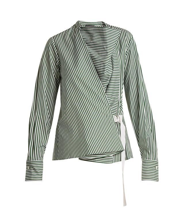 Arran striped cowl-neck wrap shirt