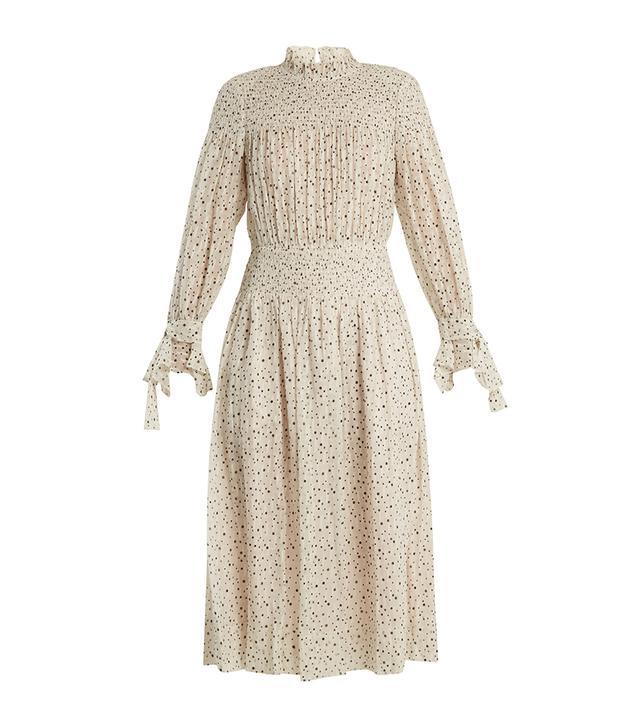 Smocked star-print silk and cotton-blend dress