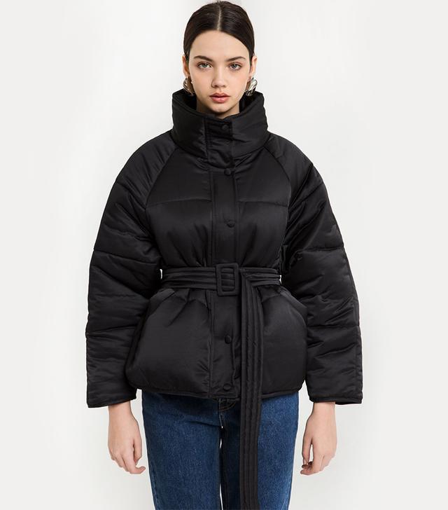Pixie Market Belted Puffer Jacket