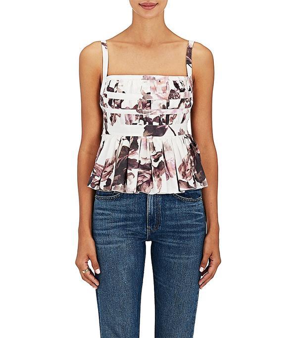 Women's Peplum Floral Cotton Blouse