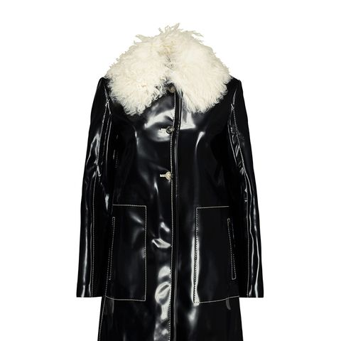 Shearling-trimmed Glossed Faux Leather Coat