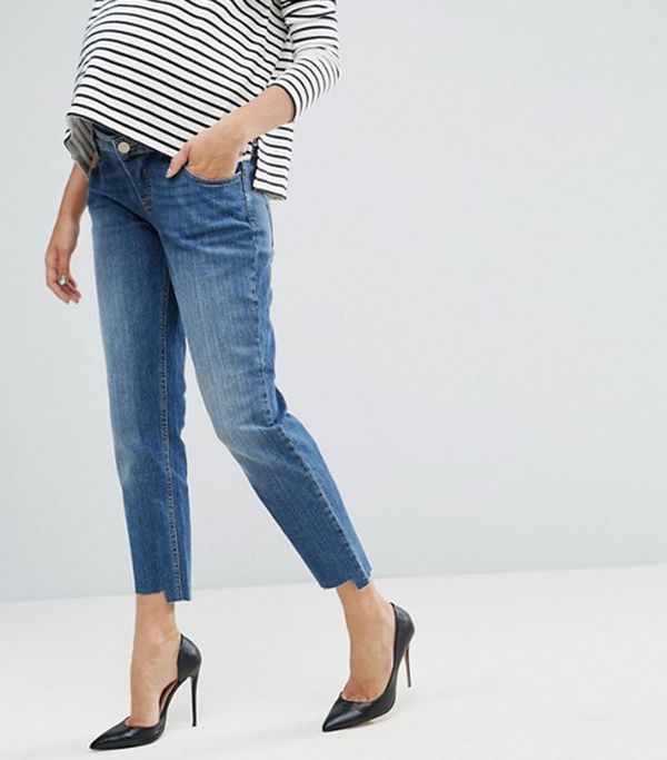ASOS MATERNITY KIMMI Shrunken Boyfriend Jeans in Blake Vintage Darkwash and Stepped Hem with Over the Bump Waistband