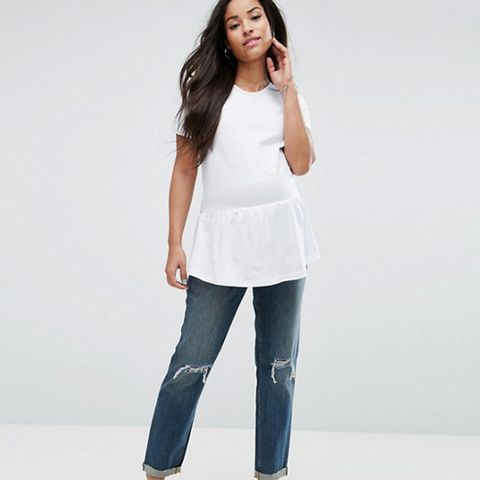 Kimmi Shrunken Boyfriend Jeans in Misty Wash