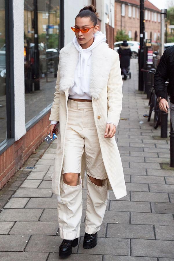 bella hadid white coat