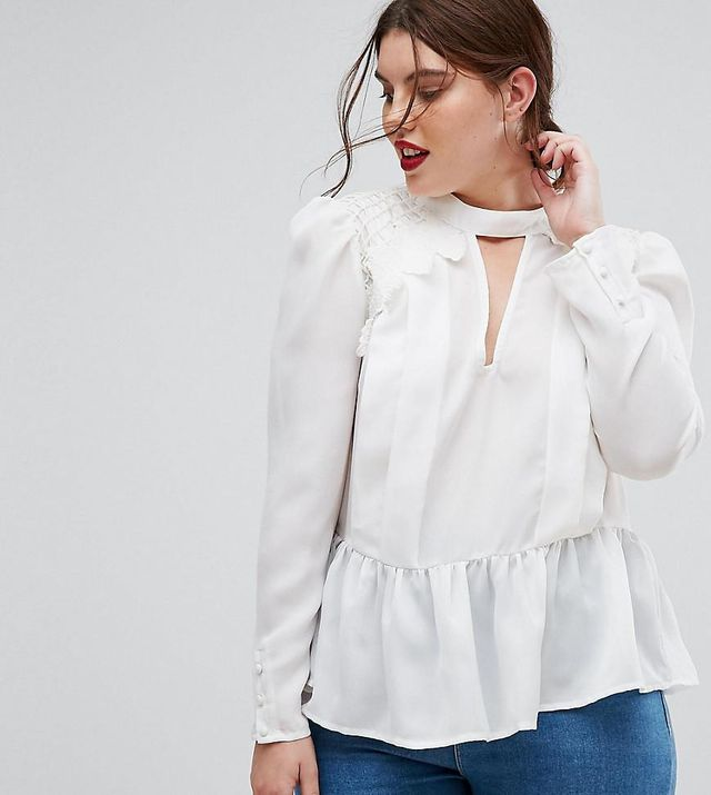ASOS CURVE Plunge Victoriana Blouse With Cotton Lace Detail