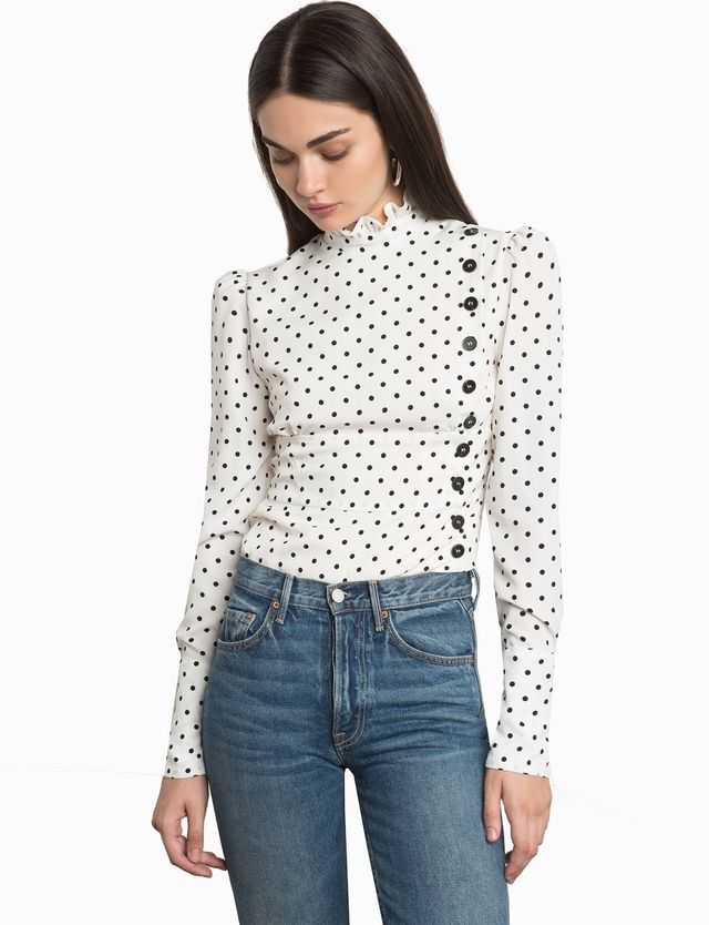 Pixie Market Klara Polka Dot Button Blouse