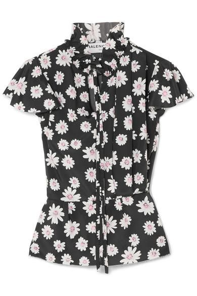 Floral-print Satin Top