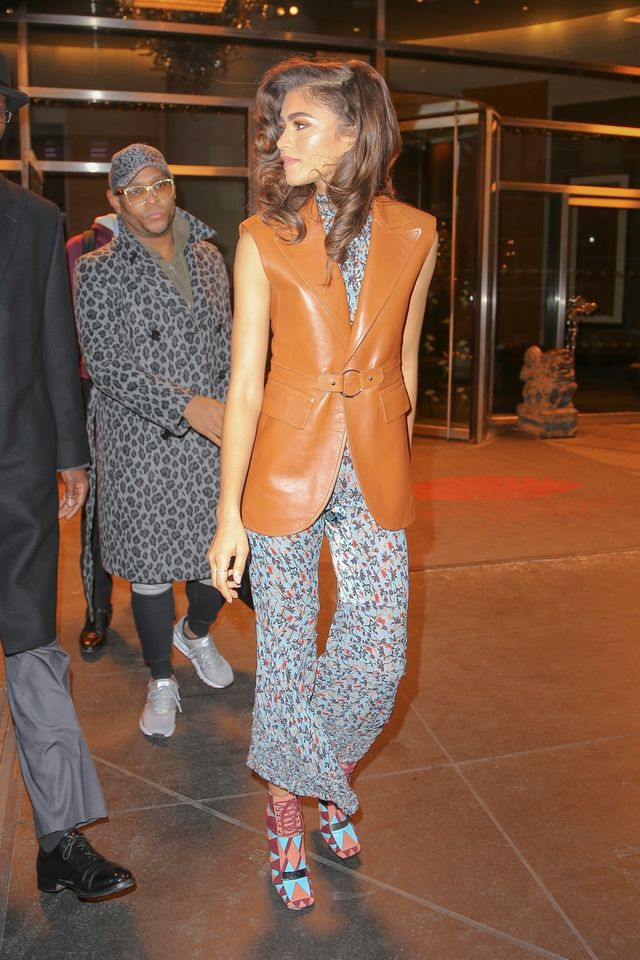 On Zendaya: Chloé jumpsuit, vest and shoes
