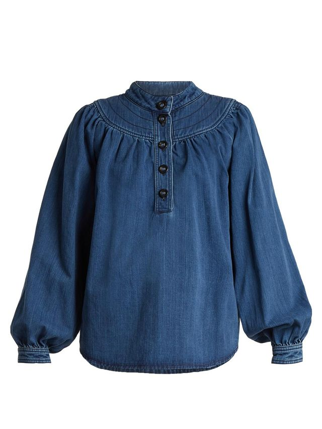 Long-sleeved gathered-yoke denim shirt