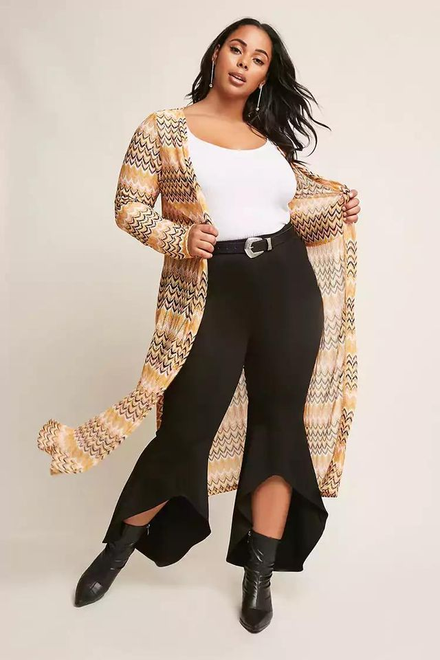 Plus Size Multicolor Chevron Open-Front Cardigan