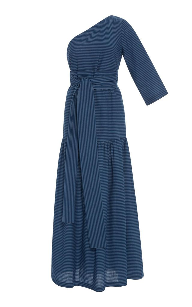 Sam Stripe One Shoulder Midi Dress
