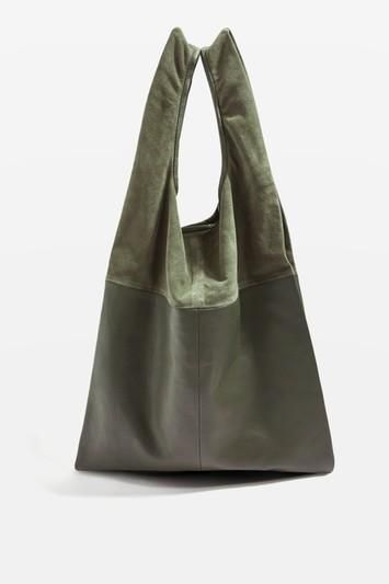 Leather Slouch Grab Tote Bag