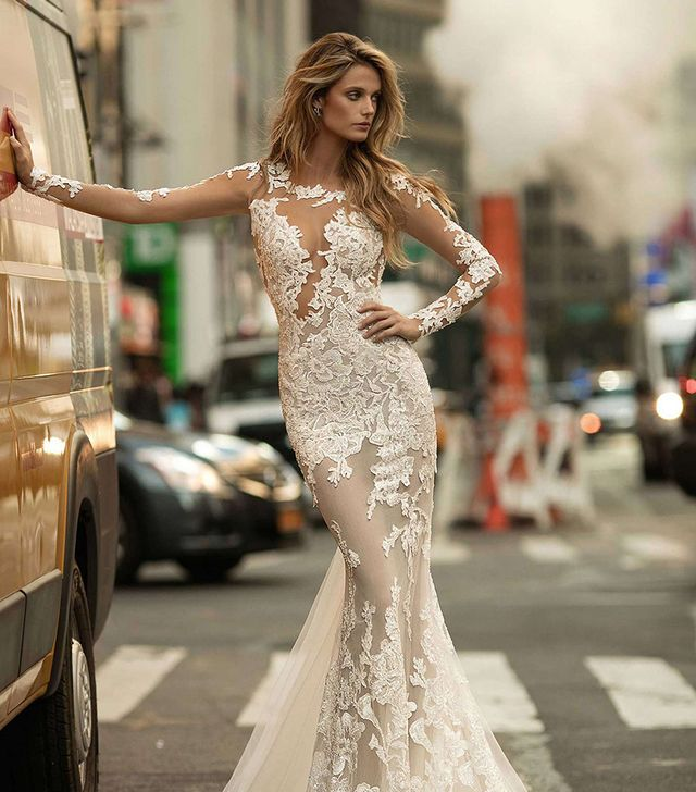 The wedding dress styles that will be huge in 2018 whowhatwear au womens berta illusion long sleeve mermaid gown junglespirit Image collections