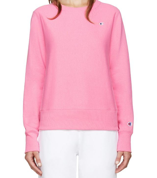 Reverse Weave Pink Small Logo Pullover