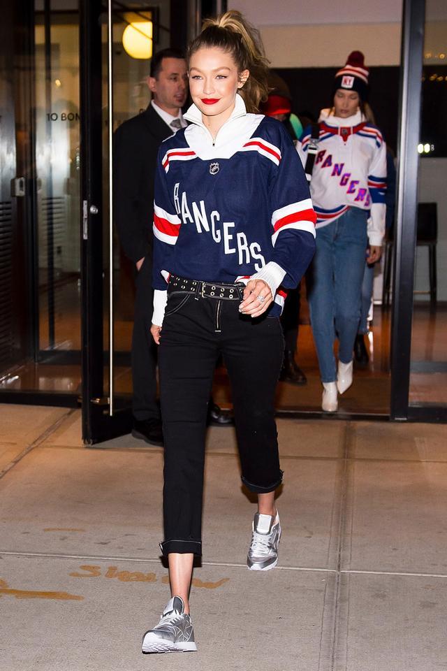 On Gigi Hadid: Rangers jersey; MiaouSam Pant ($395); ReebokClassic Sneaker ($85)