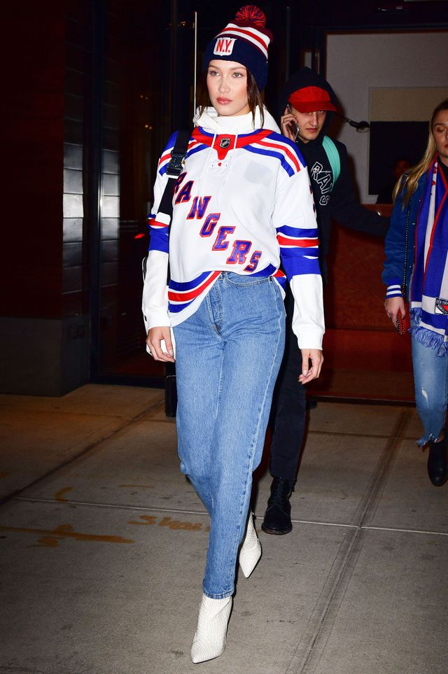 On Bella Hadid: Rangers jersey; Re/Done jeans; Public Desire High Heeled Ankle Boots ($53); New York Rangers hat Next up, see what some of our favorite celebs have worn courtside.