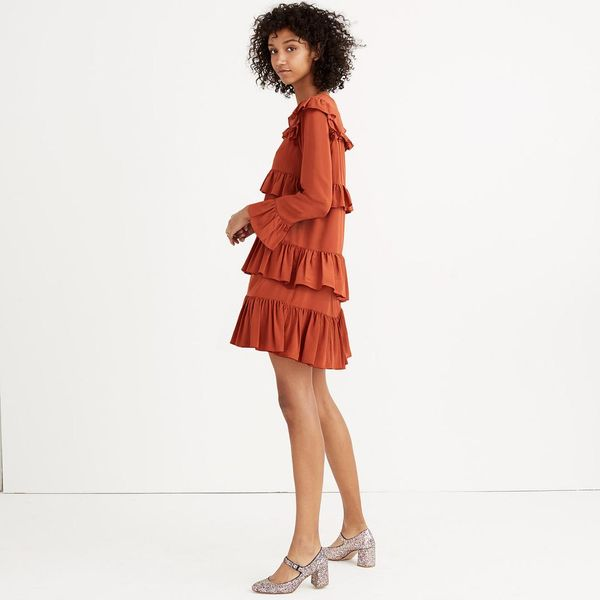 Madewell Silk Waterlily Ruffle Dress