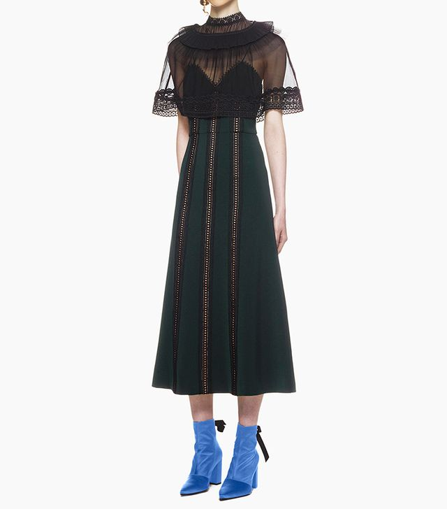 Self-Portrait Trimmed Overlay Midi Dress