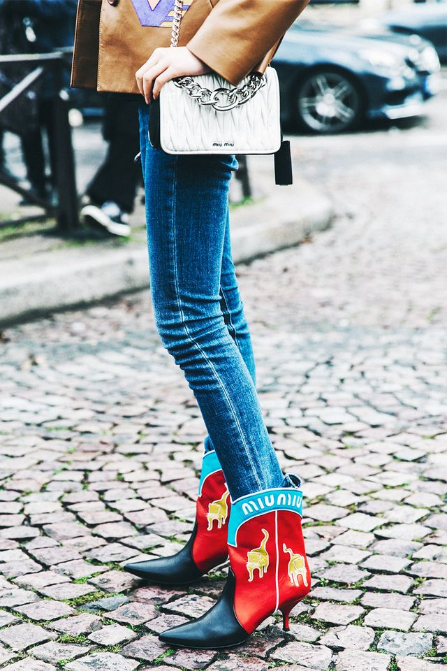 Don't be afraid to brighten up your outfit with a bold take on classic cowboy boots.