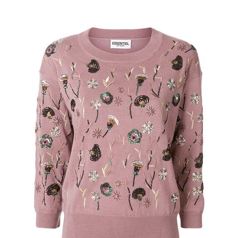 Sequin Floral Patch Sweater