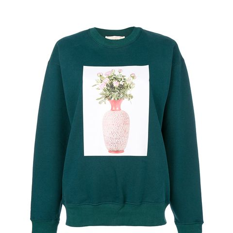 Digital Print Sweatshirt With Sleeve Slits