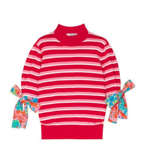 Poplin-Trimmed Striped Cotton Sweater