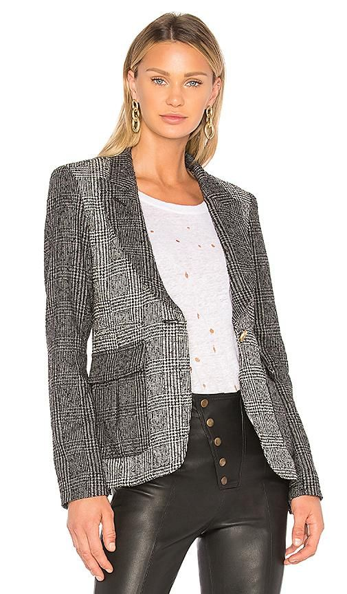 Mixed Plaid Peaked Lapel Blazer in Gray. - size 6 (also in 4,2)