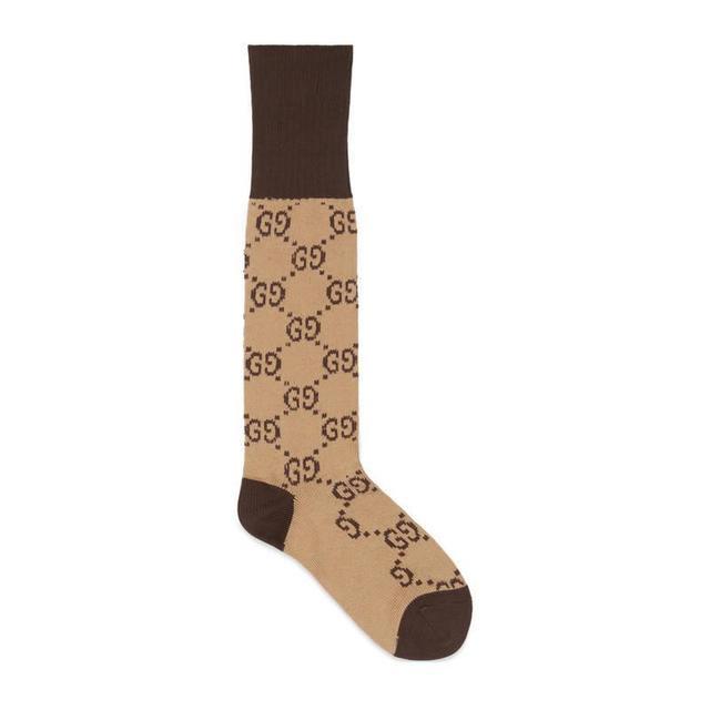 GG pattern cotton blend socks